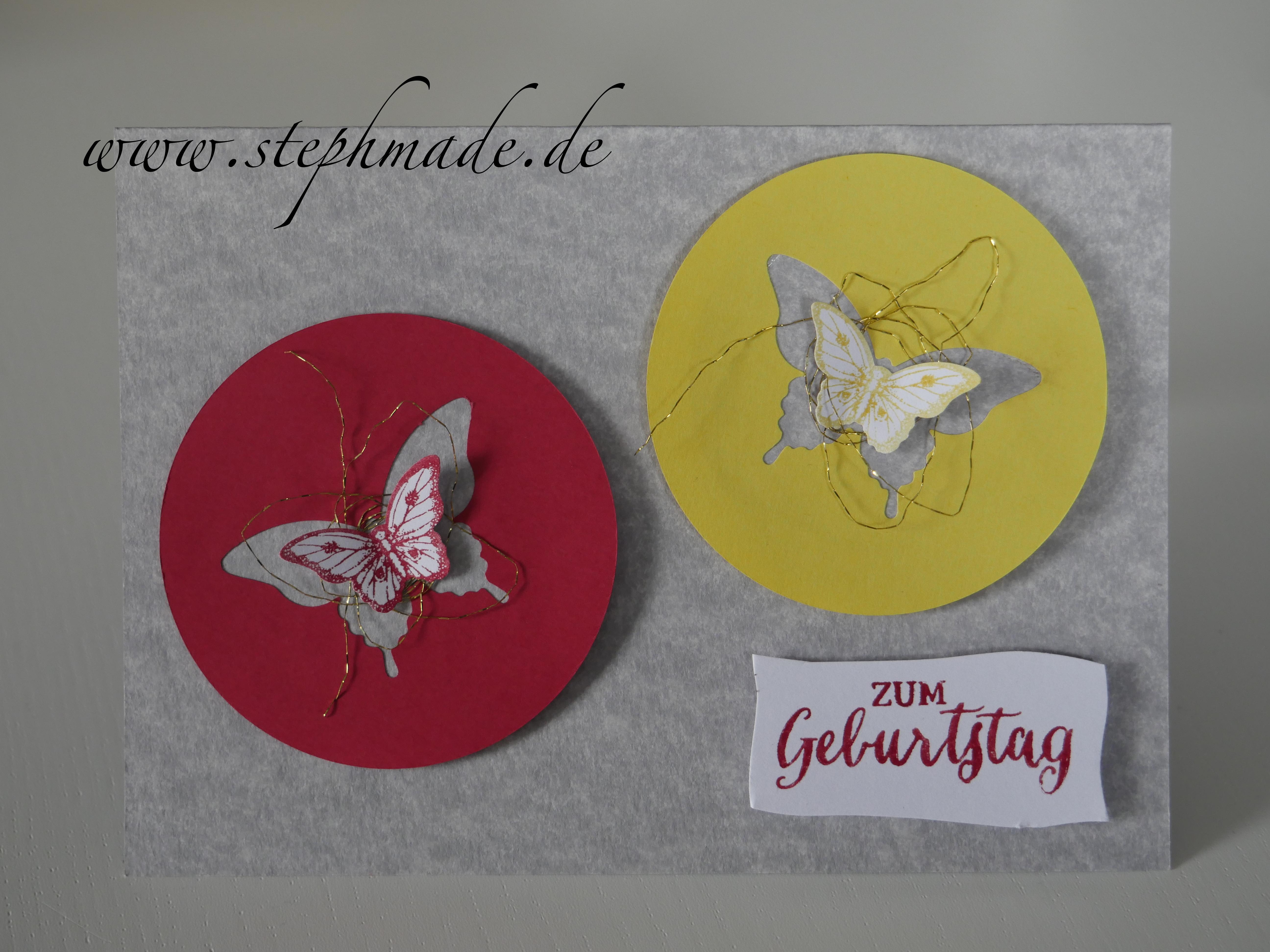 Eine neue Geburtstagskarte. Heute mit Schmetterlingen aus dem Stempelset Papillon Potpourri