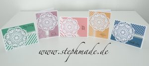 Fünf verschiedene Karten mit dem Stempelset Daydream Medallions und den neuen In Color Farben