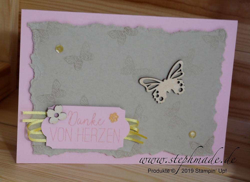 Geburtstagskarte mit Schmetterlingsakzenten